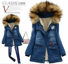 New Fashion female Fur Collar Hooded Winter Jacket Slim Padded Jean thicken Coat