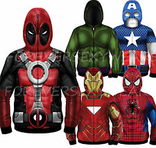 Men Marvel DC Comic Book heroes Sublimated Fleece Hooded Full Mask Zipup Hoodie