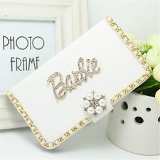 Fashion Pearl Chain Diamond Gold Barbie PU leather flip wallet Case For iPhone