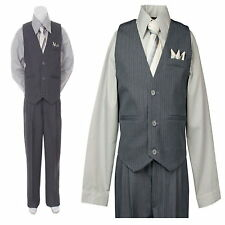 4PC Gray / Silver Boys Vest Set Wedding Party Boys Formal Suit Boys Outfit