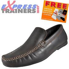 Base London Mens Float Leather Slip On Moccasins Shoes Brown * AUTHENTIC *