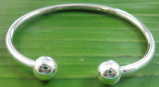100% 925 sterling silver 2 ball 3mm x 60mm diameter CUFF bangle -TEEN GIRL WOMEN