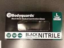 Bodyguards 4 Black Disposable Nitrile Gloves Powder Free - 100 Gloves GL897