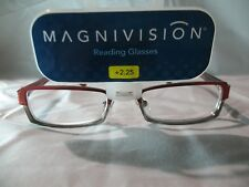 Magnivision Shiloh Red & Silver Rectangular Reading Glasses +1.25 2.25 2.75