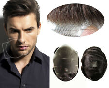 Natural Swiss Lace Toupee Hair Replacement System Mens Hairpiece Human Hair