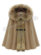 Real Wool Cape Poncho Coat Raccoon Fur Trim Hoody Duffel Botton Fashion