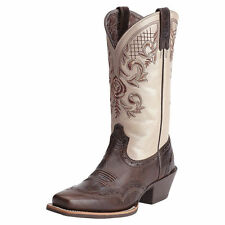 New Women's 10012807 Ariat Terrace Acres Brown/Champagne Leather Western Boot
