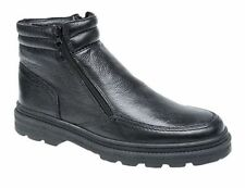 MENS SIZE 7-12 BLACK LEATHER TWIN ZIP WARM FUR THERMAL SLIP ON ANKLE DEALER BOOT