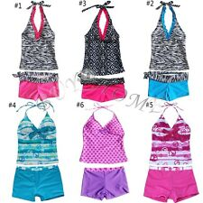 Girls Kids 2 Piece Halter Tankini Swimwear Bathers Swimmers Swimsuit Size 6 - 16