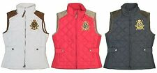 Ralph Lauren Crest Quilted Vest Jacket Womens White/Black Leather Multiple Sizes