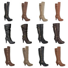 Womens New Boots Fashion Mid Calf Knee High Heels Riding Shoe Faux Leather black