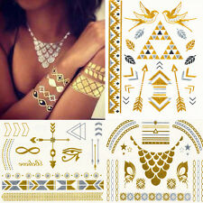 New Body Metallic Temporary Tattoo Gold Silver Black Flash Tattoos Inspired