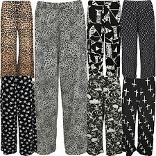 New Womens Plus Size Gothic Tattoo Printed Wide Leg Flared Palazzo Trousers12-30