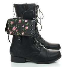 Jetta25R Women Black Military Lace Up Combat Boots Fold Over Flower Print Design