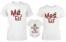 Daddy Mommy and Baby Matching Christmas Elf Family T-Shirt and Onesie Set