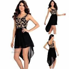 Size 8 10 12 High Low Black Skirt Gold Sequin Sleeveless Formal Party Prom Dress