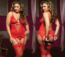 Sexy Woman lingerie bodysuits sex toys Underwear Sexy Red +fishnet stockings HOT