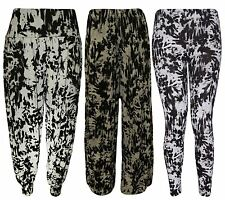 New Womens Plus Size Tie Dye Graphic Print Leggings Harems Palazzos 8-26