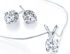 1/2 Ct Diamond Earrings & Necklace Set in White OR Yellow 10K Gold (Certified)