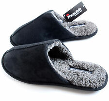 Men's Microsuede Thinsulate Warm Light Soft Slip-On Slippers Black Size M L XL