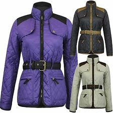 New Womens Quilted Padded Diamond Quilted Zipper Coats Jackets Plus Size XS-1X