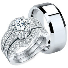 4 Pcs His Tungsten Hers Sterling Silver CZ Wedding Engagement Ring Bridal Set