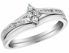 Diamond Engagement Ring and Wedding Band Set 1/10 Carat (ctw) Sterling Silver