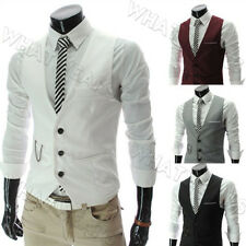 Herren Solid Color Casual Single-breasted Slim schlank Vest Weste Waistcoat SFR