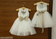 2014 Lace Tulle TUTU Flower Girl Dress Wedding Easter Junior Bridesmaid Dress