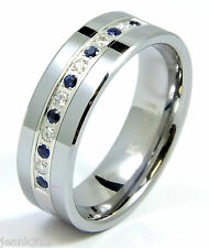 Diamond Sapphire Tungsten Modern Men's Wedding Ring Band 8mm 0.25ct Anniversary