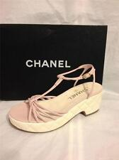 CHANEL 13C Pink Leather T Ankle Strap Quilted Platform Sandals Shoes Heels $950