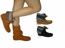 WOMEN SUEDE MOCCASIN FOLD OVER BOOT WESTERN,COWBOY,NEW Julie
