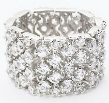 """Eternity Band Ring Flexible-Silvertone-1/2"""" Wide-4 Rows of CZ's-Size Selectable"""