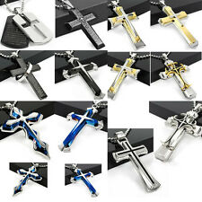 Fashion Unisex's Men's Silver gold black Stainless Steel Cross Pendant Necklace