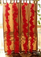 RUFFLES -Boho Shabby French Chic Pleated Window Curtain Panel Orange CORAL LINEN