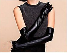 Fashion Evening Gloves, Elbow Length Shiny Leather Look, Formal/Dress Up/Bedroom