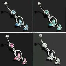 Body Jewellery Piercing Butterfly Dangling Navel Ring Belly Rings Button Bars