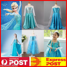 NEW Frozen Queen Elsa Costume Party Birthday Fancy Dress With Cape Size 3-9 F
