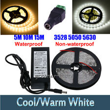 5/10/15M 3528 5050 5630 LED Strip Light Rope Waterproof Warm/Cool White +Adapter