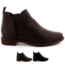 Ladies Consealed V Shape Elastic Flat Faux Winter Leather Chelsea Boot All Sizes