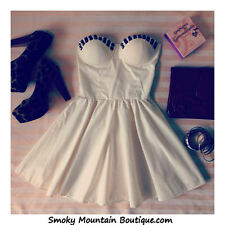 Sexy White Bustier Dress with Studs and Adjustable Straps - Size S/M/L