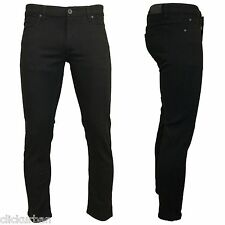 KAYDEN.K JET BLACK Men's Skinny Fit Stretch Twill Denim Jeans Pants Size 28 - 38