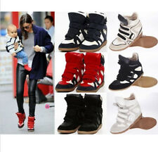 Velcro Womens Strap High-TOP Sneakers Shoes  Ladys Ankle Wedge Boots Colorful