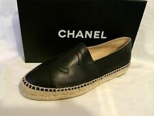 CHANEL 15C Classic Leather Cap Toe CC Logo Espadrilles Flats Shoes Black