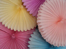MIXED PASTEL RAINBOW PAPER TISSUE FAN DECORATIONS BIRTHDAY PARTY BABY SHOWER