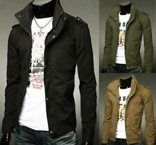 New Men's Military Collar Jacket Casual Cotton Jacket Slim Fit Long Zip Coat