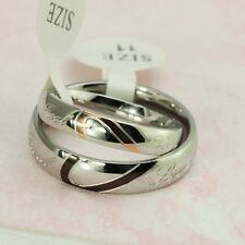 Couple Love Heart Stainless Steel Comfort Fit Wedding Band Matching Promise Ring