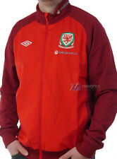 BNWT Wales Umbro Woven Training Football Jacket Top Vermillion Red Mens  XL S