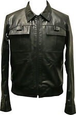 Mens Real Leather Jacket Black Soft Vintage Retro Zipped Biker Style Fitted