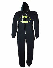 WOMEN LADIES BATMAN PRINT HOODED ONESIE JUMPSUIT FLEECE SIZE S, M, L, XL